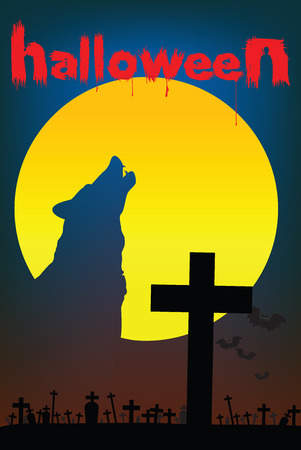 The image of a wolf in the shadow of a full moon. Evil will appear. Starting from in the cemetery.