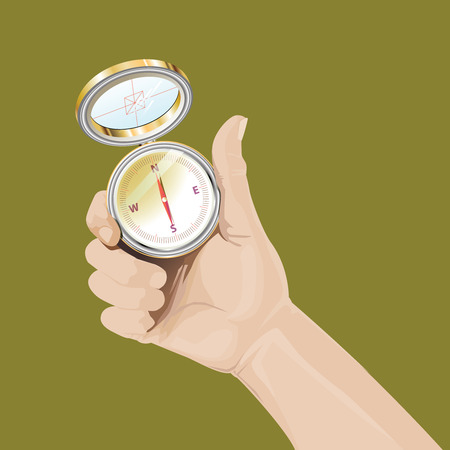 Represent Illustration of the right hand hold the compass to determine the direction.