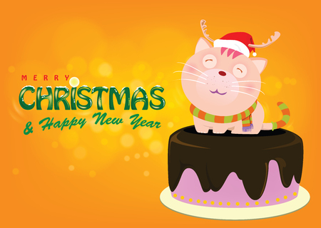Cute cat wearing a red hat and scarf. Ilustrace