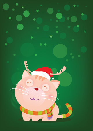 Cute cat wearing a red hat and scarf to imitate Santa Claus on snow fall green background. Waiting for the love of the owner.