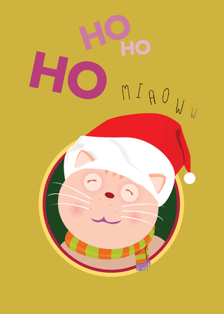 Cute cats wearing red hats and scarves to mimic Santa Claus poke heads out of the circular cavities. Waiting for the love of the owner. Illustration
