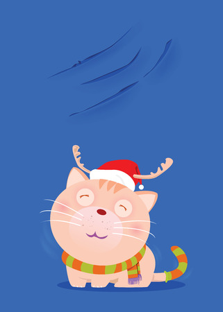 Dark cute cats wearing red hats and scarves to mimic Santa Claus, and show off nails scratch on the wall. Ilustração