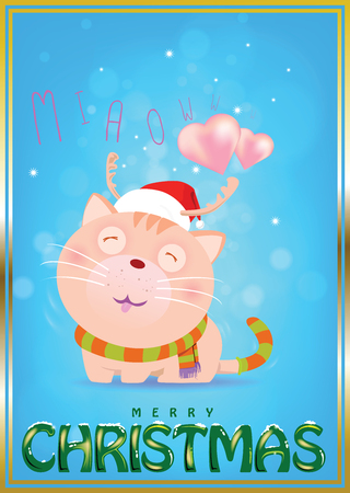 Cute cat wearing a red hat and scarf to imitate Santa Claus on snow fall blue background. Waiting for the love from lover.