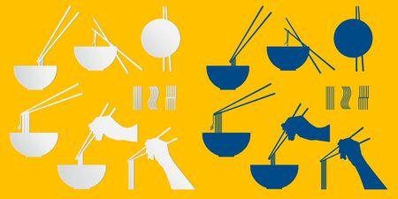 Noodle shop icon design Which has components of noodle tongs Ilustrace