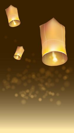 Asians believe floating lanterns at night wish be fulfilled. Sprit all layer of letter, lantern, light and background.