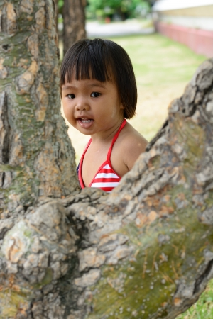 asian baby girl wear america bikini photo