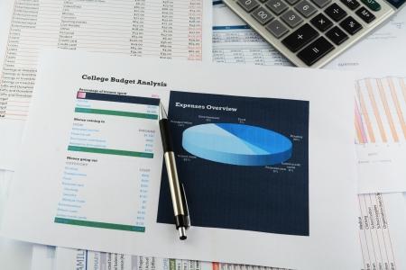 financial diversification: college budget sheet Stock Photo