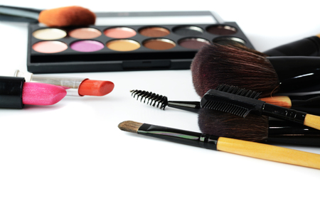 makeup brush and cosmetics, photo