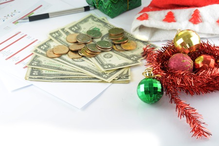 holiday budget with money photo