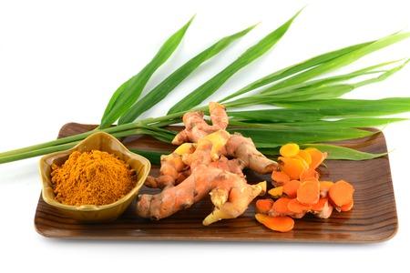 Kurkuma wortels en poeder Stockfoto