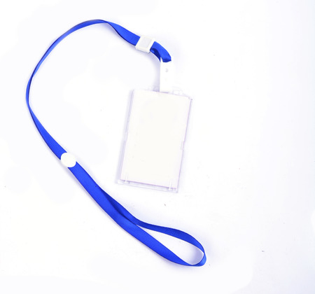 青いストラップ フォト id カード 写真素材
