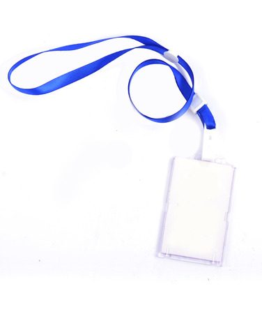 photo identity card on a blue lanyard