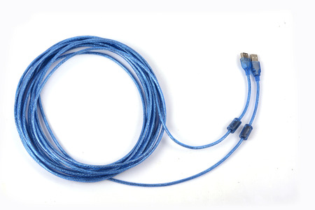 isdn: Blue USB cable isolated