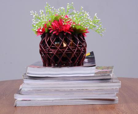 flower vase on book photo