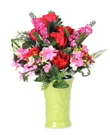 flowers in vase isolated photo