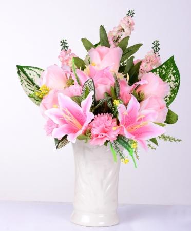 vase of flowers: Pink  flowers in vase