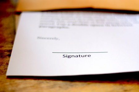 blank signature on paper photo