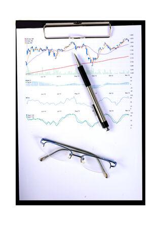 stock market quote: stock chart  Stock Photo