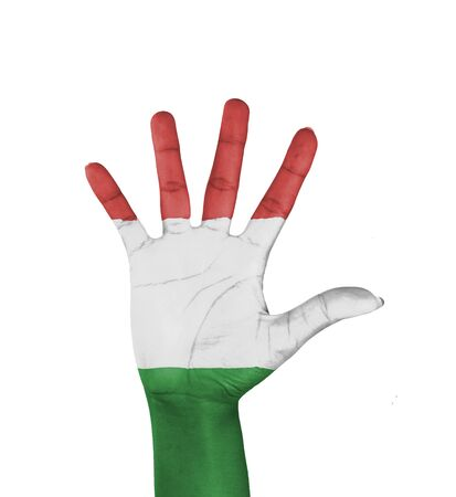 Open hand , Italy flag painted  Stock Photo
