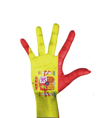 Open hand Spain flag painted photo