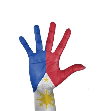 Open hand , Philippines flag painted  photo