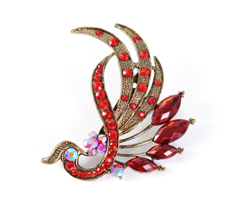 retro brooch with red gems isolated Imagens - 25482736