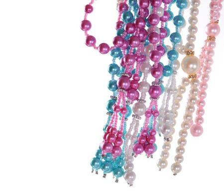 perl: multicolour Pearl necklace Stock Photo
