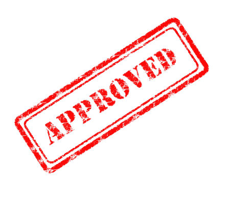 sanctioned: approved rubber stamp  Stock Photo