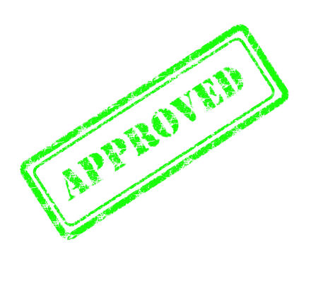 accredit: approved rubber stamp  Stock Photo