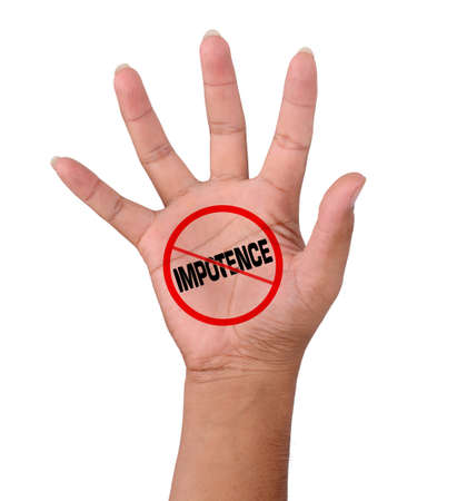 impotence: Hand and word No Impotence isolated in white  Stock Photo