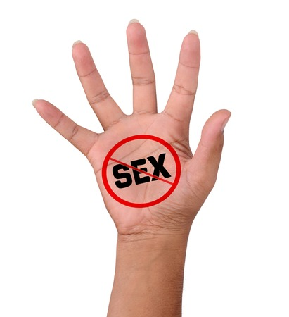 Hand en word geen seks Stockfoto