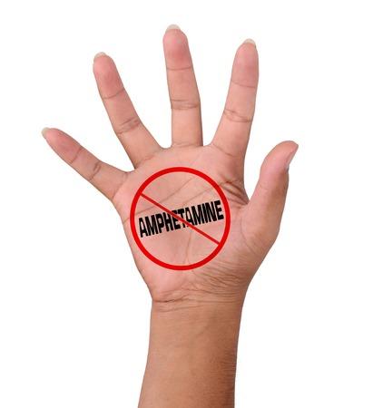 amphetamine: Mano y palabra No Anfetamina aislado en blanco