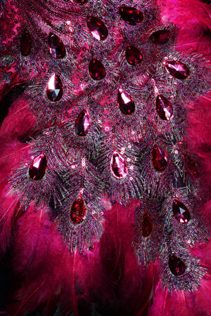 jewelle: red jewel gem on furry dress Stock Photo