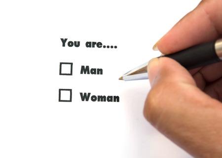 Man and woman check boxes ink print photo
