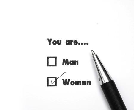 Man and woman check boxes ink print , check woman photo