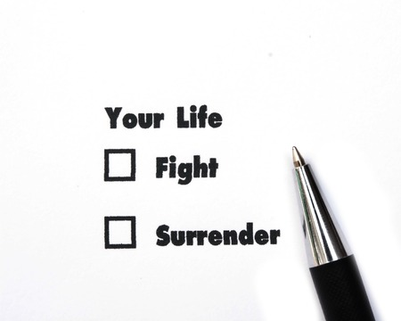 no surrender: Your select is Fight or Surrender, ink print, check box concept