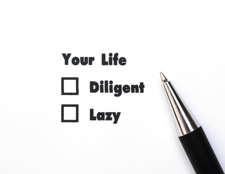 diligent: Your select is Diligent or Lazy, ink print,check box concept Stock Photo