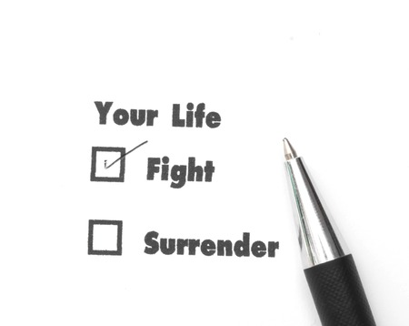 Your select is Fight or Surrender, ink print, check fight