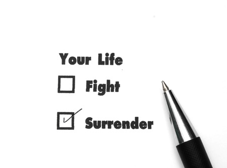 no surrender: Your select is Fight or Surrender, ink print, check Surrender Stock Photo