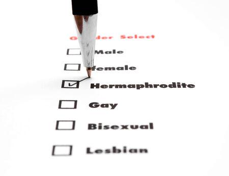 surveyed: gender select choice,check hermaphodite Stock Photo