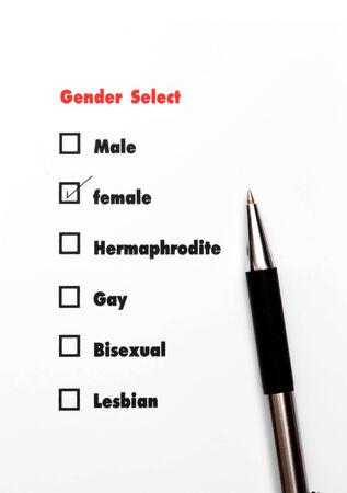 surveyed: gender select choice Stock Photo