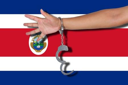 bandera de costa rica: esposas con la mano en la bandera de Costa Rica