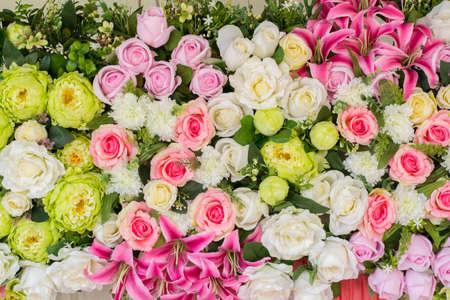 artificial flower: beautiful wedding Artificial flower background Stock Photo