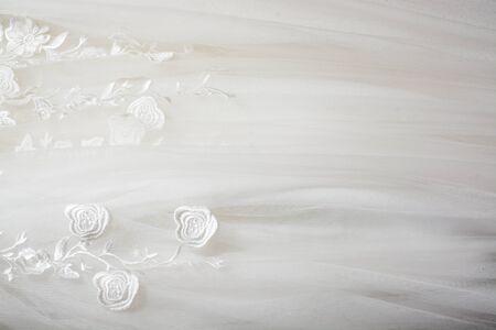 a frill: White wedding dress background Stock Photo