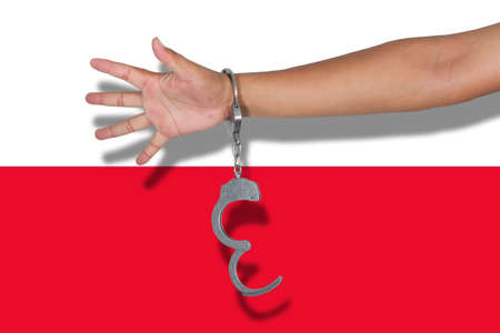poland flag: handcuffs with hand on Poland flag