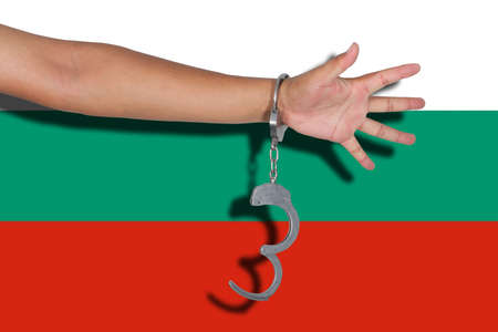 hand cuff: handcuffs with hand on Bulgaria flag