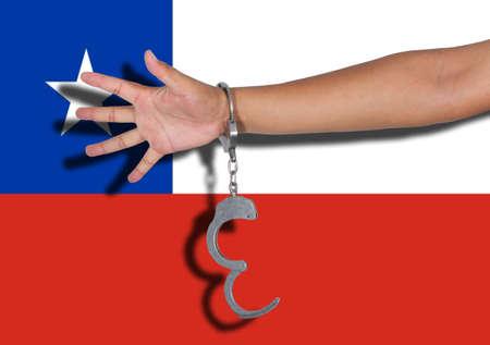 bandera de chile: esposas con la mano en la bandera de Chile