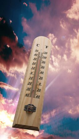 hotter: Wooden thermometer on the sky , Hot weather