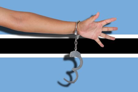 hand cuff: handcuffs with hand on Botswana flag