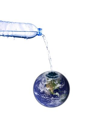 refraction: fill water to the world, earth concept